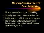 descriptive normative benchmarking