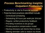 process benchmarking insights outpatient productivity