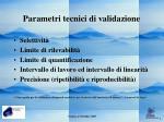 parametri tecnici di validazione