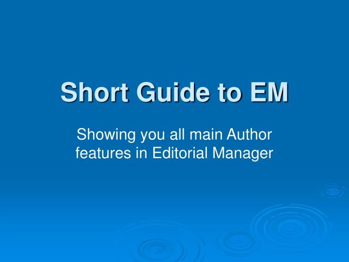 short guide to em n.