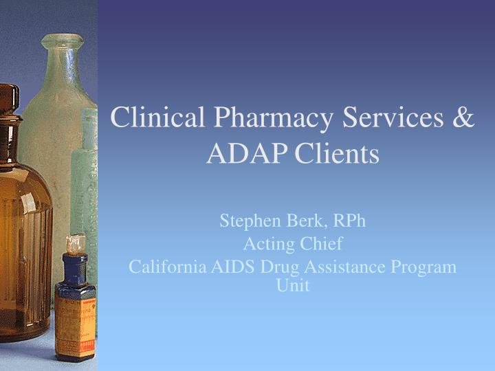 clinical pharmacy services adap clients n.