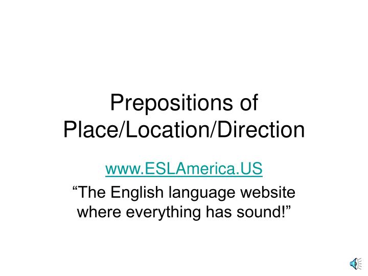 prepositions of place location direction n.