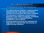 co cultural theory of communication assumptions