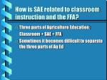 how is sae related to classroom instruction and the ffa