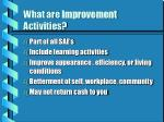 what are improvement activities