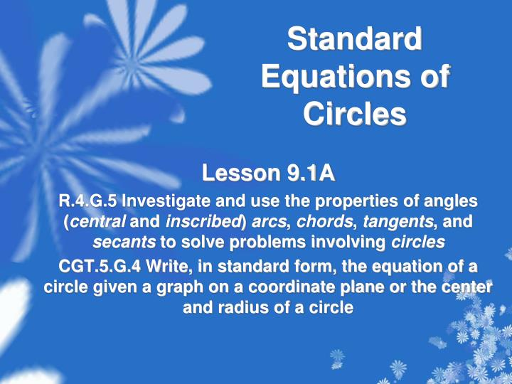 standard equations of circles n.