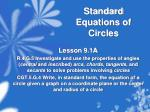 standard equations of circles