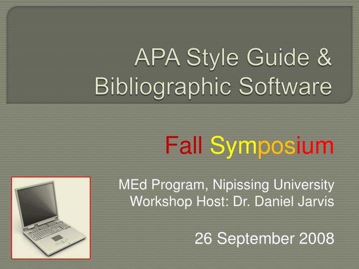 apa style guide bibliographic software n.
