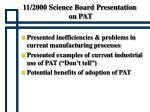 11 2000 science board presentation on pat