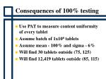 consequences of 100 testing