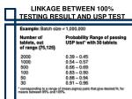 linkage between 100 testing result and usp test