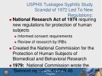 usphs tuskegee syphilis study scandal of 1972 led to new regulations