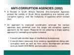anti corruption agencies 2002