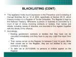 blacklisting cont