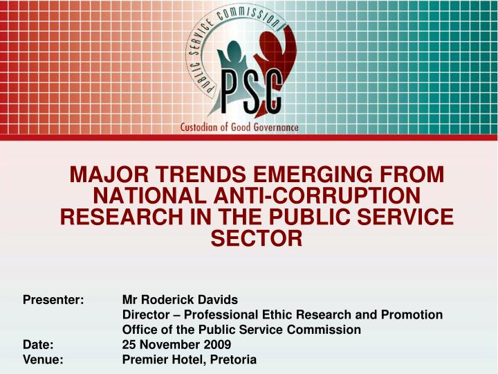major trends emerging from national anti corruption research in the public service sector n.