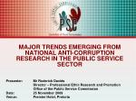 major trends emerging from national anti corruption research in the public service sector