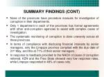 summary findings cont