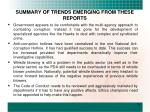 summary of trends emerging from these reports