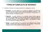 types of conflicts of interest