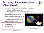 texturing parameterization object mesh