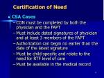 certification of need