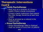 therapeutic interventions cont d