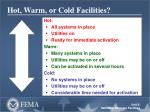 hot warm or cold facilities