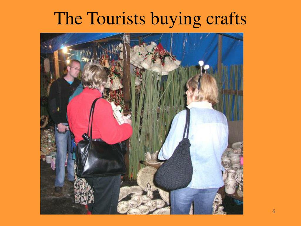 The Tourists buying crafts