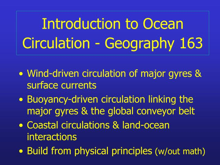 introduction to ocean circulation geography 163 n.