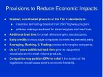 provisions to reduce economic impacts