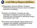 access reducing regulatory constraints