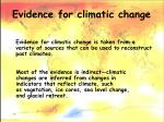 evidence for climatic change