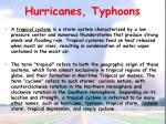 hurricanes typhoons