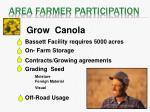 area farmer participation