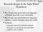 research designs the sapir whorf hypothesis