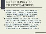 reconciling your student earnings