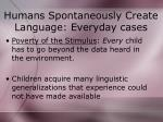 humans spontaneously create language everyday cases
