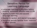 sensitive period for learning language