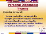 personal income and personal disposable income1