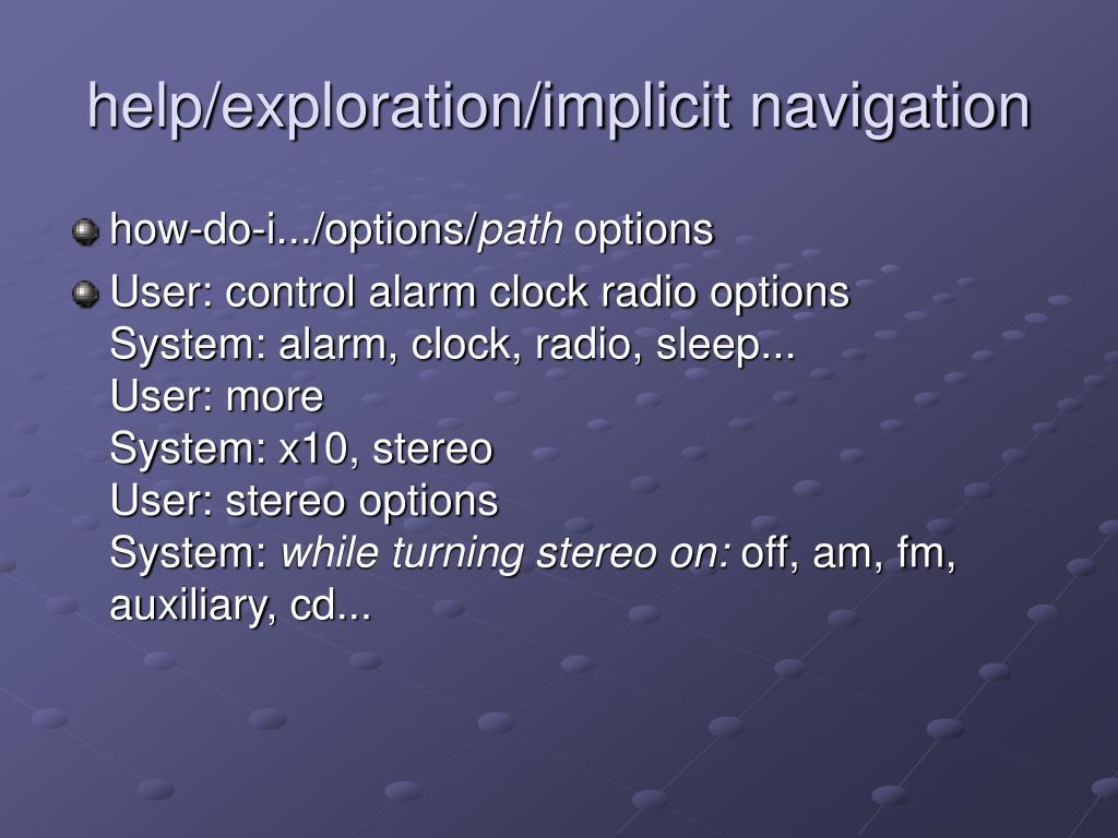 help/exploration/implicit navigation