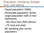 population sampling sample size and setting