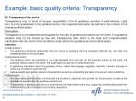 example basic quality criteria transparency