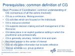 prerequisites common definition of cg