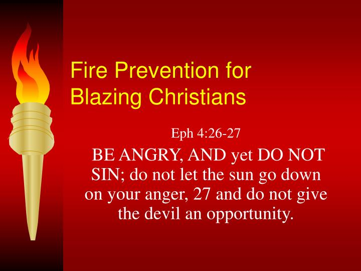 fire prevention for blazing christians n.