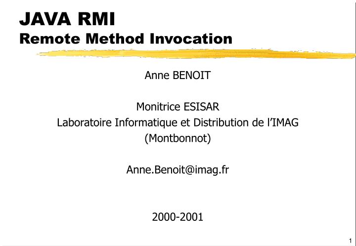 java rmi remote method invocation n.