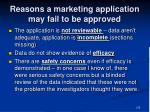 reasons a marketing application may fail to be approved