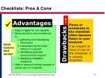 checklists pros cons