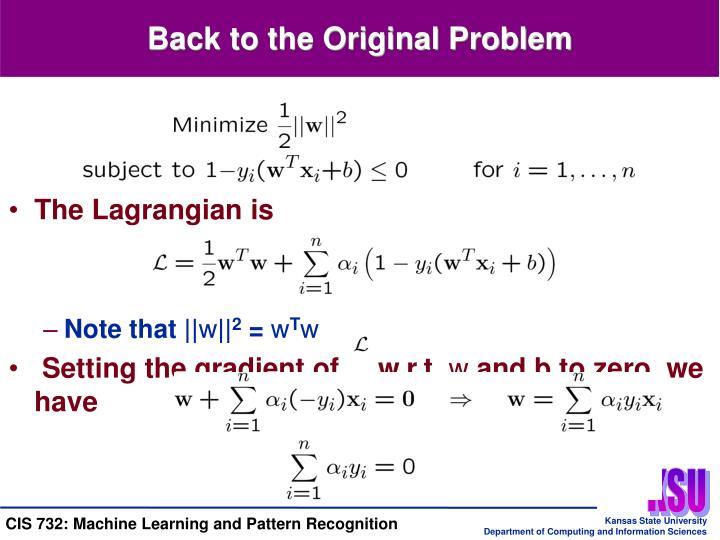 Back to the Original Problem