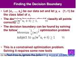 finding the decision boundary