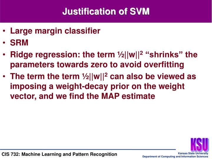 Justification of SVM